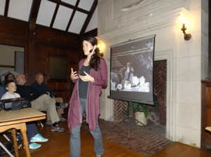 Rebecca Watters gives a presentation at the Southborough Community House April 16.