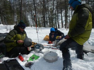 Forrest McCarthy, Jason Wilmot and Jim Harris take an afternoon break during a day of tracking wolverines in northern Mongolia. (Photos/submitted)