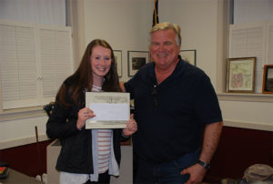 Scholarship recipient Molly O'Neill with Shrewsbury Historical Society President Erik Larson. Photos/submitted