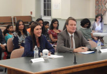 Rep. Hannah Kane (left) and State Senator Michael Moore present a legislative update to the School Committee Sept. 12. Photo/Melanie Petrucci