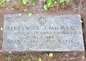 The grave of Sgt. Alexander J. MacIsaac is in the World War I lot of Mountain View Cemetery.