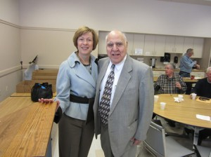 State Auditor Suzanne Bump and Shrewsbury Men's Club member Ralph Lespasio. (Photo/Bonnie Adams)