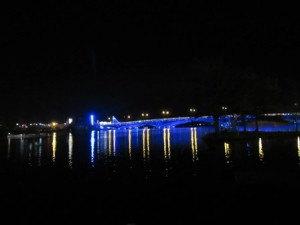 The bridge is lit with LED lights.