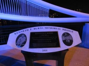 A plaque tells the story of the bridge's namesake.