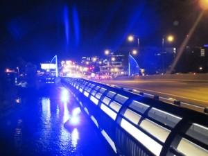 LED lights illuminate the bridge.