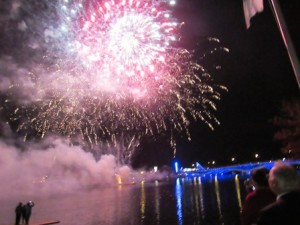 The sky is lit up over Lake Quinsigamond with a spectacular fireworks display.