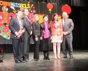 (l to r) MassBCLS Principal Dr. Weichu (Brian) Xu; state Sen. Michael Moore; Lt. Gov. Karyn Polito; Zhang Meifang, deputy consul general of China; state Rep. Hannah Kane and former state Rep. Guy Glodis Photo/Bonnie Adams