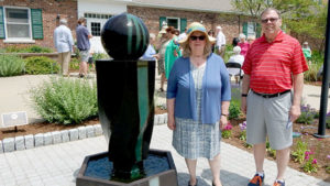 Audrey Dalli, Shrewsbury Fragrant Garden, Inc. (l) and Jim Marine, President, Shrewsbury Lions Club Photo/Melanie Petrucci