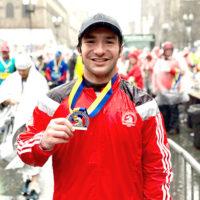 Mike Kotsopoulos at the finish line of the 2018 Boston Marathon Photo/courtesy, Amy Kotsopoulos