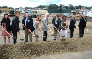 (l to r) State Rep. Hannah Kane, State Sen. Michael Moore, Selectman John Lebeaux, Lt. Gov. Karyn Polito, Howard Grossman, president, Grossman Development Group; Maurice DePalo, chair, Board of Selectmen; Mark Hebert, vice president, Grossman Development Group; and Selectman Henry Fitzgerald