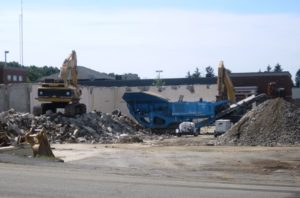 The former Spags stores are in the process of being demolished in anticipation of the new development being built on the site.