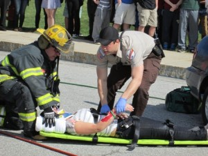 A student is transported from the scene.