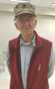 Ken Swift, veteran from Shrewsbury, sporting his new flag accessories Photos/Stacey Lavely
