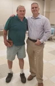 Roger Faucher, of Roger's Coffee Shop at The Village Café, located in the senior center, with Veterans Coordinator of Easter Seals Massachusetts speaker Adam Costello Photos/Stacey Lavely