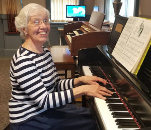 Barbara Anderson, volunteer piano player for The Shrewsbury Senior Center, provided music for the guests throughout the event. Photos/Stacey Lavely