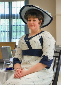Rita Parisi portrays a 1908 American woman in her solo performance at the Shrewsbury Senior Center.