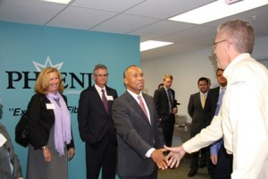 Gov. Deval Patrick meets employees at Phoenix Communications.