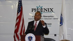 Gov. Deval Patrick thanks the employees of Phoenix Communications for their commitment to helping Massachusetts stay competitive in the global economy.