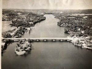 An aerial view of Lake Quinsigamond, circa 1948