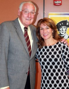 This year's Community Voice recipient winner Karyn E. Polito poses with last year's recipient, Kevin Byrne, an attorney who served as Shrewsbury town moderator for 35 years.