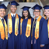 Gathered before graduating are class officers: (l to r) Gary Ren, president; Jacob Garrido, vice president; Safa Zakaria, secretary; Charles King, treasurer; and Jessica Miksis, class marshal. Photos/Ed Karvoski Jr.