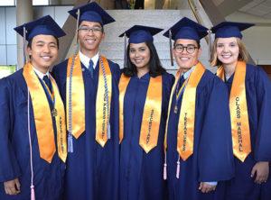 Gathered before graduating are class officers: (l to r) Gary Ren, president; Jacob Garrido, vice president; Safa Zakaria, secretary; Charles King, treasurer; and Jessica Miksis, class marshal. Photos/Ed Karvoski Jr.