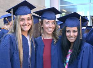 (l to r) Sabine Mende, Ashlee Phaneuf and Ava Munro gather in Senior Plaza before graduating. Photos/Ed Karvoski Jr.