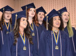 (l to r) Emily Mahoney, Brianna Clarke, Maggie Keene, Erin Donovan, Maggie Clarke and Erin Matozel sing with Senior Choir. Photos/Ed Karvoski Jr.