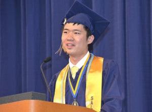 Salutatorian Albert Xu offers his graduating classmates advice. Photos/Ed Karvoski Jr.