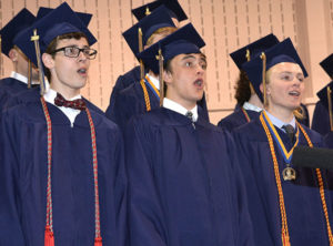 """Singing """"Do I Make You Proud"""" are (l to r) Will Stewich, John Barrett and Andrew Busick. Photos/Ed Karvoski Jr."""