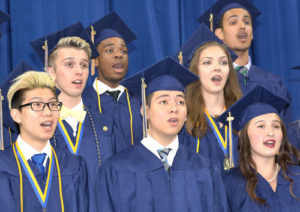 "Singing ""Reaching for the Stars"" are (front, l to r) Tommy Wang, Deane Drummey, Samantha Weich, (back) Thomas O'Neill, John Miwanda, Mikaila Mack and Maehir Sharma."