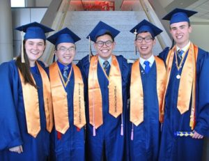 Gathered before the graduation ceremony are the 2016 class officers: (l to r) Emma Aulenback, president; Richard Peng, vice president; Jaehyun Lee, secretary; Ryan Beals; Walsh Kang, treasurer; and Michael Wackell, marshal.