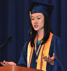 Valedictorian Yutong Liu speaks about transitioning from middle to high schools.
