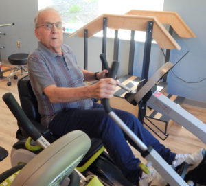 Shrewsbury Nursing & Rehabilitation Resident Jerry Collette, a resident at Shrewsbury Nursing & Rehabilitation, works out on an exercise bicycle in the new gym. Photo/submitted