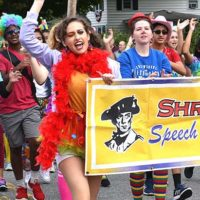 Shrewsbury High School Speech and Debate Club members bring spirit to the parade route. Photos/Ed Karvoski Jr.