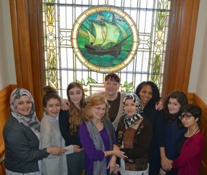 Gathered together to plan for 2017 are members, advisors and facilitators of the S.T.O.P. program: (l to r, back row) Sherin Asker, Lydia Begag, Pamela Fanjoy, Sabina Terrades, Elizabeth Hylton, Layla Nayfeh, Tasneen Mohammed; (front row) Veronique Orcel, Badiaa Begag, Photo/Joyce DeWallace