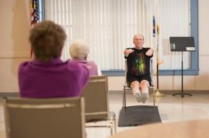 Dr. Clermont leads a Pilates class at the Shrewsbury Senior Center.  Photo/ Courtesy Joyce Maranto of Maranto Studios