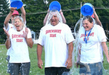Participating in the second annual Shrewsbury Soak are public schools representatives: (l to r) Kathleen Keohane, development and volunteer activities coordinator; Steve Rocco, safety, security and transportation coordinator; and Assistant Superintendent Amy Clouter. Photos/Ed Karvoski Jr.