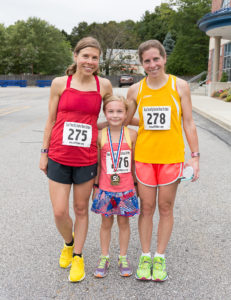 A family affair: (left to right) Linda Spooner, 1st overall winner, her daughter Page Spooner, 8, winner for her age group and Karen Houle, 2nd overall winner.  Linda and Karen are sisters.
