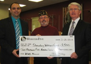 (left to right) Sam Bitar, branch manager, Webster Five; Frederick Russell, commander, Victor Quaranta Post 397, The American Legion and chair, WWI Memorial Committee; and Rich Leahy, president and CEO, Webster Five Photo/submitted