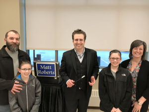 The Manzi family with Magician Matt Roberts Photos/Heidi Hayes-Pandey