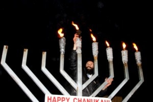 Rabbi Michoel Green of the Chabad of Westborough at last year's Public Menorah Lighting Event