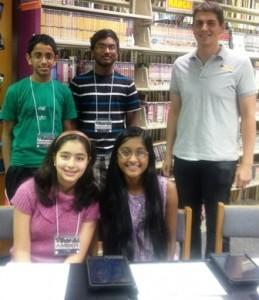 (l to r, back row) student volunteers Sushant Raj, Sreeharsha Potu, and volunteer coordinator Dan Barbour and (l to r, front) Amber Ali and Soumya Potu Photo/ Shriya Jamakandi