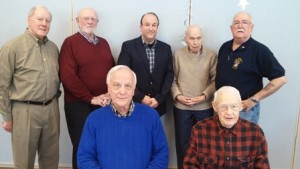 "Gathered at a luncheon are veterans featured in the Southborough Access Media documentary ""Southborough Veterans: Local Life Lessons"": (back, l to r) John Wilson, Mel Kizner, Paul Cimino, Earle Watkins, Steve Whynot, (front l to r) Christopher Robbins and Arthur Butler Jr. Not pictured are Dan Kolenda and Ray Minnucci. Photo/submitted"