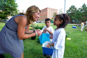 Lt. Gov. Karyn Polito speaks with two children at the Massachusetts Latino Chamber of Commerce's seventh annual Latino Community Picnic in Holyoke.