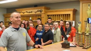 CWO3 R. P. Mann describes the various awards and trophies that his cadets brought home from their trip to the Joint Service Grand National Championship Competition.