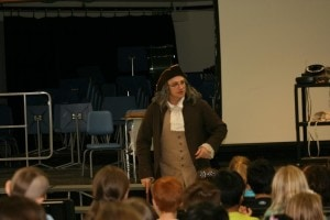 Kyle Blanchette as Benjamin Franklin speaks to the students. (Photo/submitted)