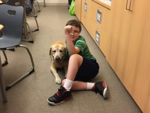 """William Foley with a yellow lab as the class shared thoughts on """"Old Yeller"""" by Fred Gipson. (Photos/submitted)"""