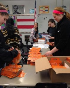 Members of the 2015-2016 UNICEF Club organize boxes for their Trick or Treat for UNICEF event. (Photo/submitted)