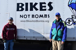 Organizers of the bike drive, Zhenya and Todd Kurland, at Assabet Valley Regional Technical High School Photo/submitted